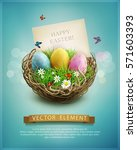 Stock vector vector vintage easter eggs in a wicker nest green grass and rectangular greeting card on a blue 571603393