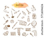 make up hand drawn set. doodle... | Shutterstock .eps vector #571604626