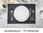 dinner plate setting top view | Shutterstock . vector #571606036