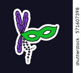 doodle icon. carnival mask.... | Shutterstock .eps vector #571607398