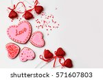 gingerbread hearts for... | Shutterstock . vector #571607803