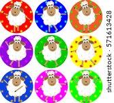 set cute dancing funny sheep in ... | Shutterstock .eps vector #571613428