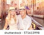 happy couple in venice ... | Shutterstock . vector #571613998