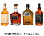Alcohol Bottles Set Isolated O...
