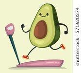 Cute Avocado Doing Exercises O...