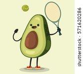 cute avocado cartoon character... | Shutterstock .eps vector #571620286