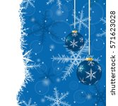 christmas card with balls and... | Shutterstock . vector #571623028