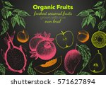 fruits top view frame. farmers... | Shutterstock .eps vector #571627894
