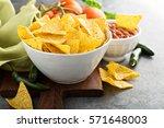 Corn Tortilla Chips In Big Bowl ...