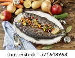 rainbow trout with cut... | Shutterstock . vector #571648963