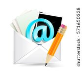 envelope with email sign ... | Shutterstock .eps vector #571650328