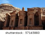 Petra in Jordan, Nabatean capital - stock photo