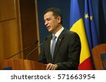 Small photo of BUCHAREST, ROMANIA - February 04, 2017: Romanian Prime Minister Sorin Grindeanu declares in a press conference that the controversial graft decree will be abrogated.