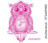 Owl. Design Zentangle. Detaile...