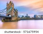 beautiful sunset on thames...   Shutterstock . vector #571675954