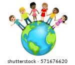 children or kids hand in hand... | Shutterstock .eps vector #571676620