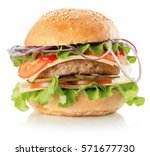 burger isolated on the white... | Shutterstock . vector #571677730
