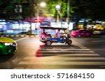 motion blur tuk tuk  bangkok ... | Shutterstock . vector #571684150