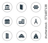 set of 9 simple structure icons.... | Shutterstock .eps vector #571687138