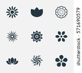 set of 9 simple blossom icons.... | Shutterstock . vector #571690579
