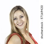 beautiful young lady with long hair in portrait pose braces - stock photo