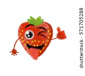 strawberry expressions silly... | Shutterstock .eps vector #571705288