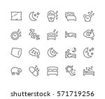 Simple Set of Sleep Related Vector Line Icons.  Contains such Icons as Insomnia, Pillow, Sleeping Pills and more. Editable Stroke. 48x48 Pixel Perfect.