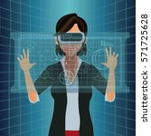 woman with vr goggles touch... | Shutterstock .eps vector #571725628