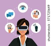 woman virtual reality glasses... | Shutterstock .eps vector #571725649