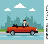 young man with convertible car... | Shutterstock .eps vector #571725943