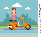 happy woman glasses riding...   Shutterstock .eps vector #571726078