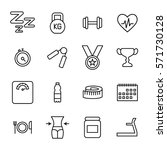set of fitness icons in modern... | Shutterstock .eps vector #571730128