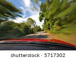Exciting Adrenaline Fast Sport Car Driving in Nature Freeway - stock photo
