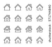 set of home icons in modern... | Shutterstock .eps vector #571744840