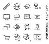 set of internet icons in modern ...