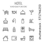 set of hotel icons in modern... | Shutterstock .eps vector #571746253