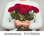 Handsome Man Holding Bouquet O...