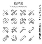 set of repair icons in modern...