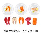 salted red fish with lime slice ...   Shutterstock .eps vector #571775848