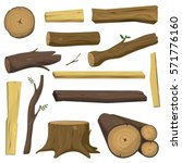 Tree Wood Trunk Vector Set...