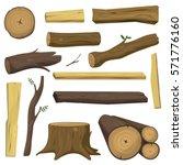 Tree Wood Trunk Vector Set...