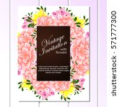 invitation with floral... | Shutterstock . vector #571777300