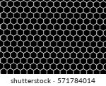 Black and white hexagon honeycomb pattern background. | Shutterstock vector #571784014