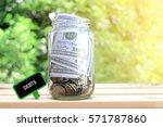 debits words on blackboard with ... | Shutterstock . vector #571787860