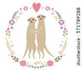 couple meerkats  happy... | Shutterstock .eps vector #571789288