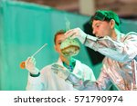 experiments in a chemistry lab. ... | Shutterstock . vector #571790974
