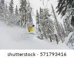 freeride skier with rucksack... | Shutterstock . vector #571793416