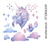 cute set of graphic unicorn in... | Shutterstock .eps vector #571806109