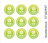 set of 9 green flower signs | Shutterstock .eps vector #57182947
