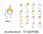 thin line flat set for... | Shutterstock .eps vector #571839580